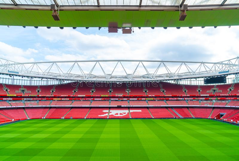 London, United Kingdom - AUG 31,2019: A picture of empty Emirates Stadium during weekend which open for tourist to visit. Its a. Home for Arsenal Football Club royalty free stock photography