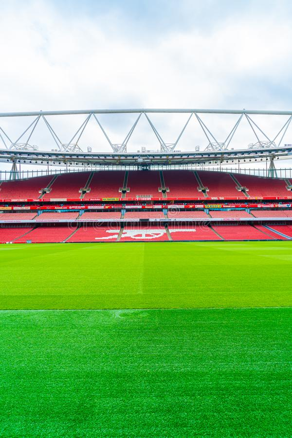 London, United Kingdom - AUG 31,2019: A picture of empty Emirates Stadium during weekend which open for tourist to visit. Its a. Home for Arsenal Football Club stock photo