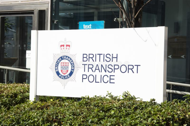 London, United Kingdom. August 22, 2009 - British transport police logo and sign outside headquarters building in Camden, London. London, United Kingdom. August royalty free stock photo