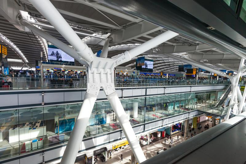 LONDON, UNITED KINGDOM - AUGUST 28, 2017 - Departures terminal at Heathrow Airport, one of six international airports serving Grea. Ter London stock photo