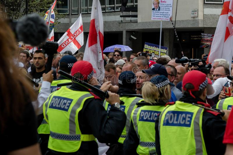 Anti fascist protests in London stock image