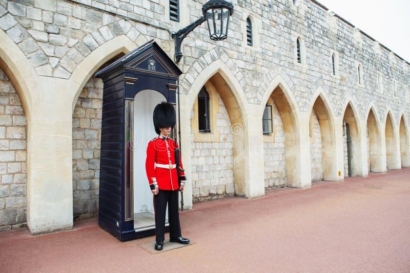 LONDON, UNITED KINGDOM - AUGUST 22, 2017 : Royal Guard at Windsor Castle, England. stock photo