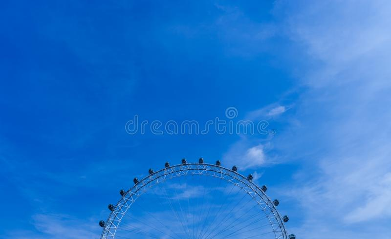 LONDON, UNITED KINGDOM - AUGUST 28, 2017 - Section view of the London Eye, giant Ferris wheel on the South Bank of the River Thame royalty free stock photography