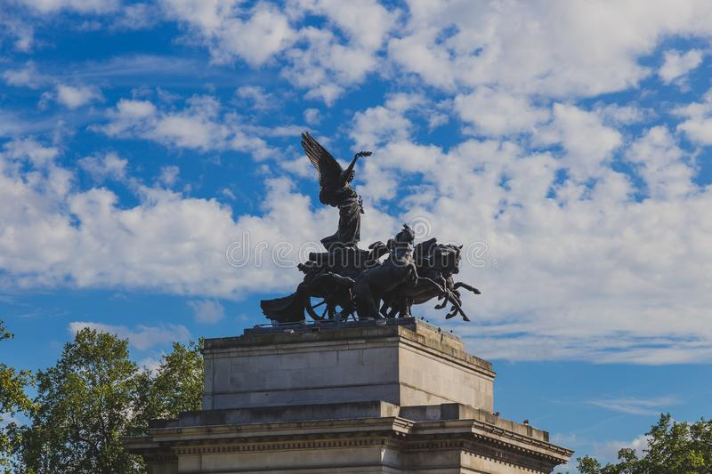 Detail of Wellington Arch in Hyde Park Corner stock photos
