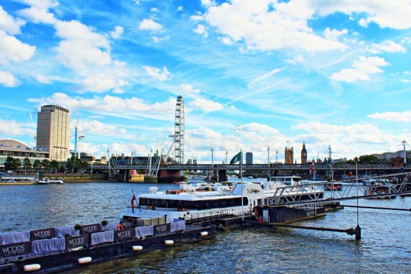 Thames River Savoy Pier Central London skyline UK stock photography
