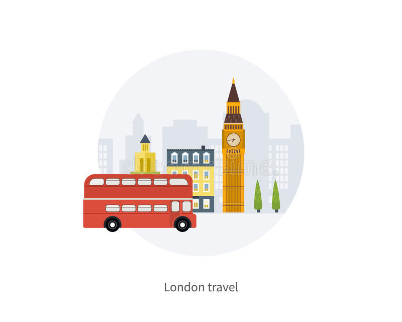 London, United Kingdom, Big Ben tower flat icons royalty free illustration