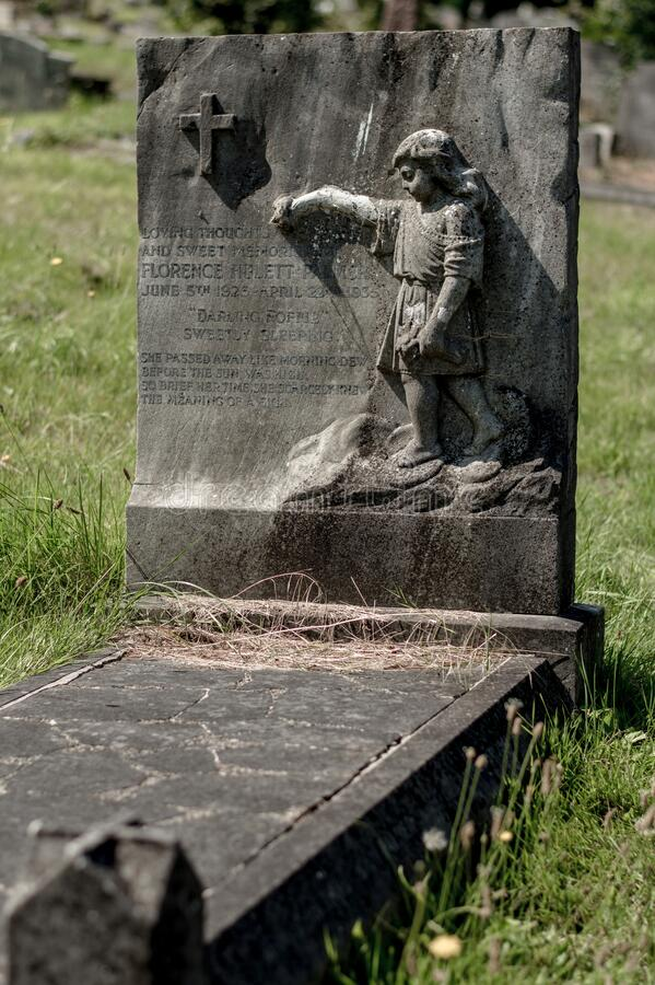 London. United Kingdom. 2017. London Cemetery. Hounslow. Grave of young boy in London cemetery Hounslow. Old and abandoned yet memorable royalty free stock photos