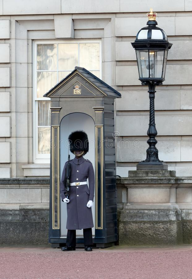 London, United Kingdom - Februari 21, 2019 : Guards in greatcoats on sentry duty at Buckingham Palace in London on February 21,. 2019 royalty free stock image
