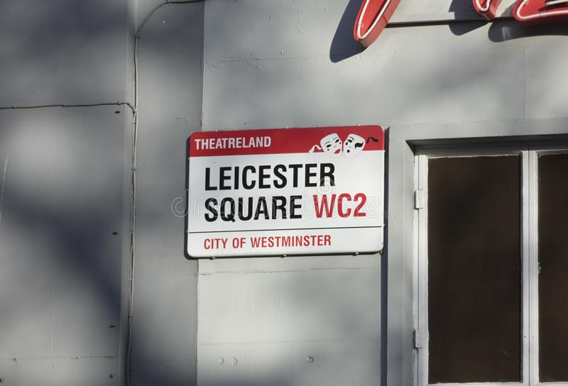 London, United Kingdom, February 7th 2019, Sign Leicester Square. London, United Kingdom, February 7th 2019, Sign for Leicester Square royalty free stock photo