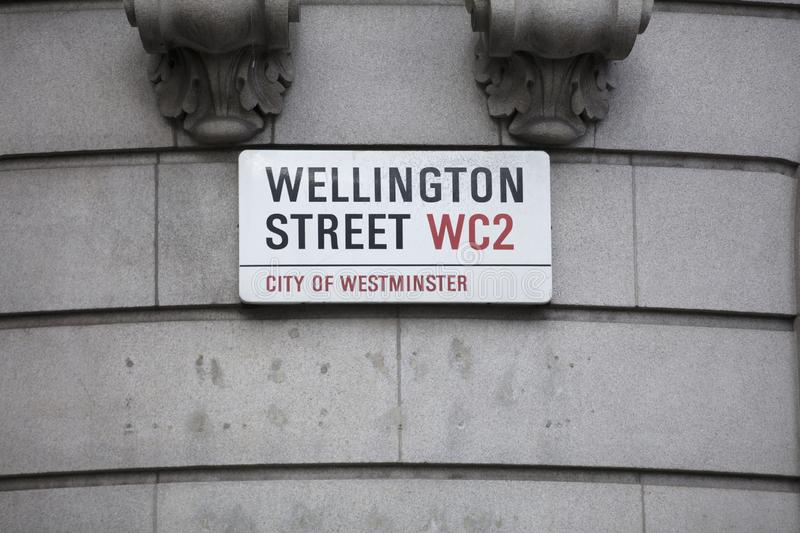 London, United Kingdom, February 7th 2019, Sign for Wellington St. Reet royalty free stock photo