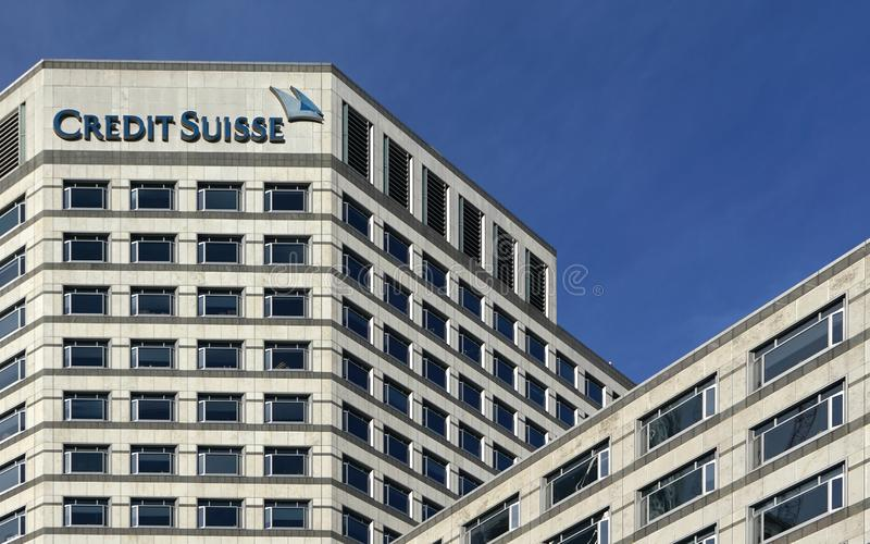 London, United Kingdom - February 03, 2019: UK branch of Credit Suisse at Canary Wharf. CS Group AG is multinational investment royalty free stock photo