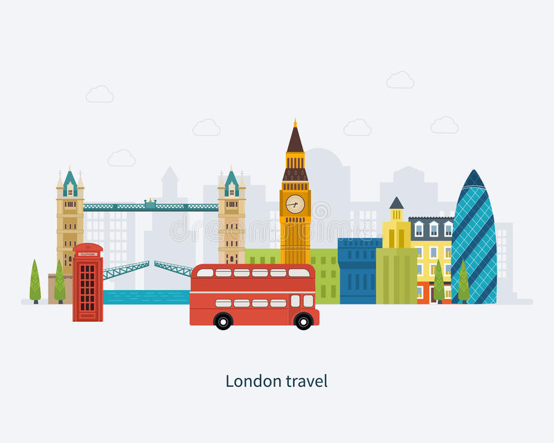 London, United Kingdom flat icons design travel stock illustration