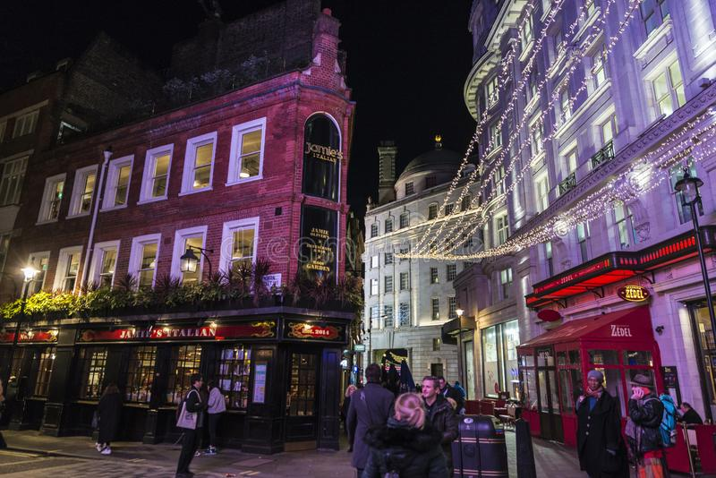 Restaurants and pubs in Soho in London, England, United Kingdom stock image