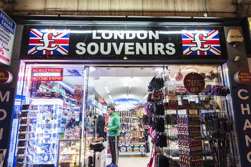 Souvenir shop at night in London, England, United Kingdom royalty free stock photography