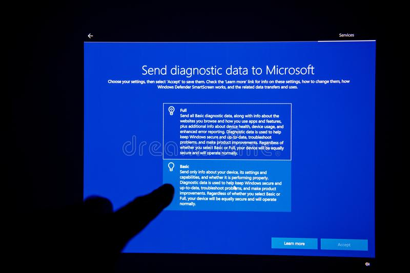 Microsoft diagnostic data after Windows 10 update stock image