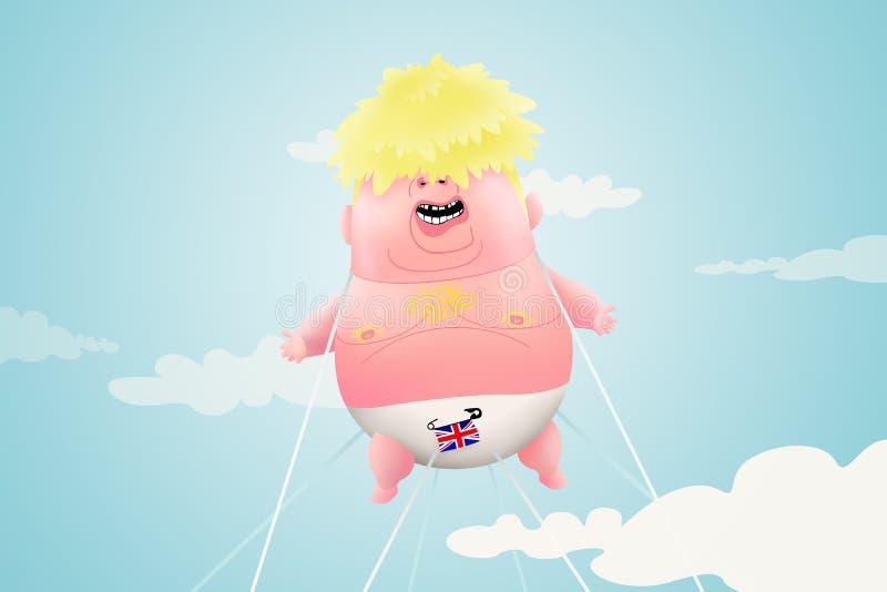LONDON, UNITED KINGDOM, 27 July 2019 - 3D Illustration idea for Boris's Britain. royalty free illustration