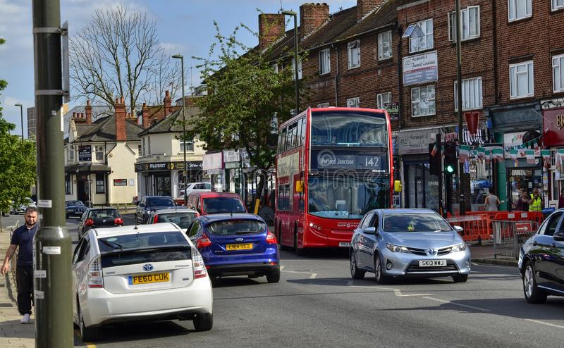 London, United Kingdom, June 14 2018. Also on the outskirts of London, in Colindale, you can see the famous red London buses. Here line 142 Watford Junction stock image