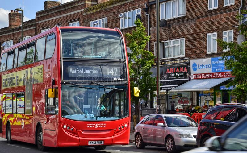 London, United Kingdom, June 14 2018. Also on the outskirts of London, in Colindale, you can see the famous red London buses. Here line 142 Watford Junction royalty free stock photos