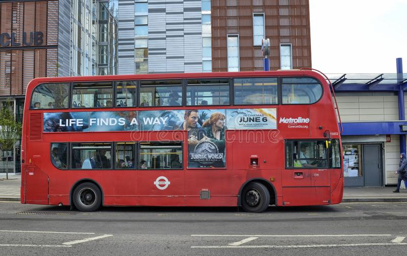 London, United Kingdom, June 14 2018. Also on the outskirts of London, in Colindale, you can see the famous red double decker London buses stock image