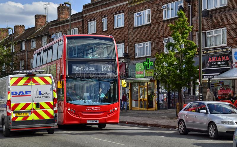 London, United Kingdom, June 14 2018. Also on the outskirts of London, in Colindale, you can see the famous red London buses. Here line 142 Watford Junction stock photo