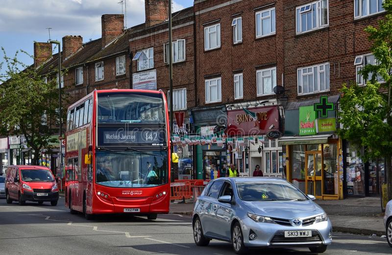 London, United Kingdom, June 14 2018. Also on the outskirts of London, in Colindale, you can see the famous red London buses. Here line 142 Watford Junction stock images