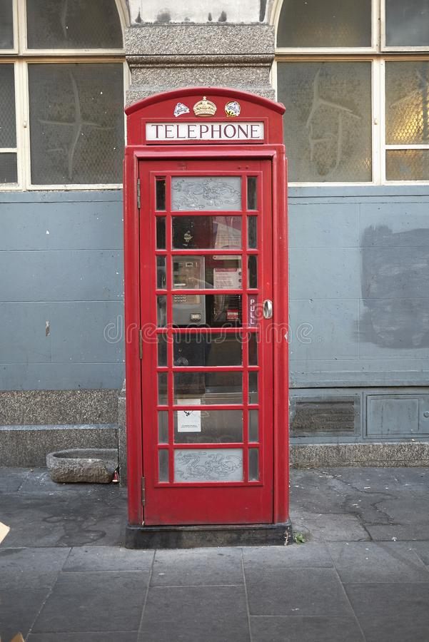 The red telephone box royalty free stock photo