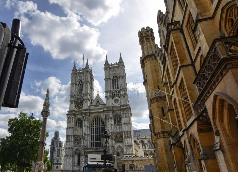 The entrance to the Abbey of Westminster Abbey on the occasion of a mundane event. London, United Kingdom, June 2018. Westminster Abbey, the sunrays peek out stock image
