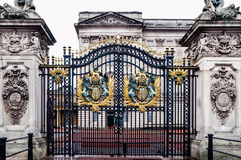 London, United Kingdom: Main gate of Buckingham Palace. One of the symbols of British crown stock image