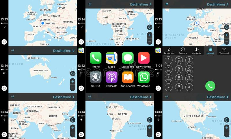 Apple Car Play dashboard home screen with maps of continents. LONDON, UNITED KINGDOM - MAR 30, 2018: Diverse screen of the navigation system of the car equipped stock illustration