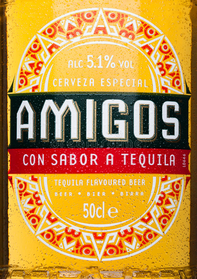 LONDON, UNITED KINGDOM - MARCH 23, 2017: Bottle label of Amigos Tequila Beeron white. A beer brewed by the Fischer brewery. royalty free stock photography