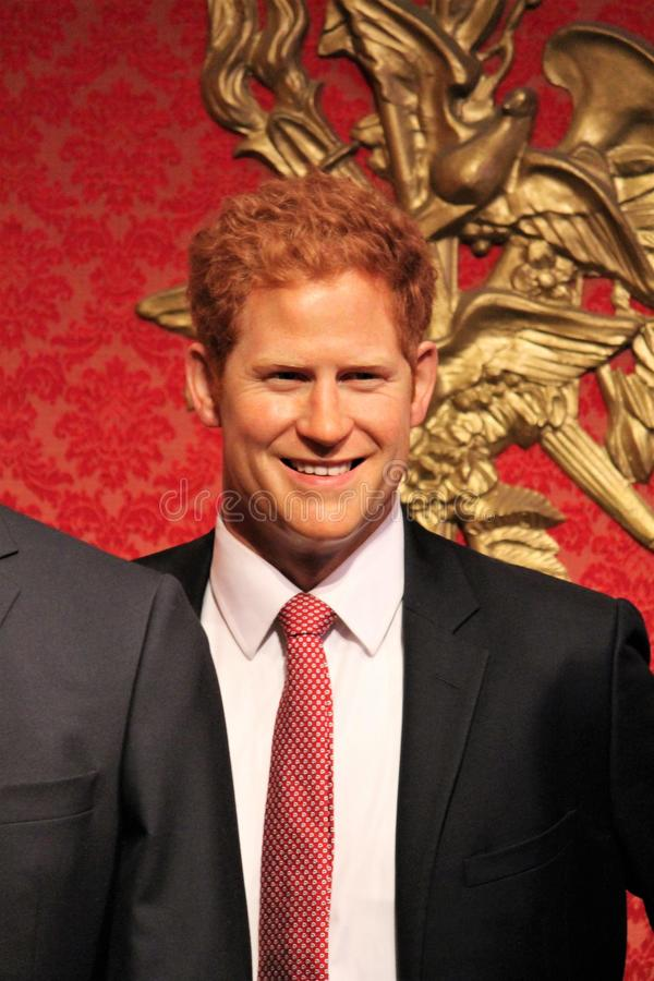 Prince Harry, London, United Kingdom - March 20, 2017: Prince Harry portrait wax figure at Madame Tussauds London royalty free stock image