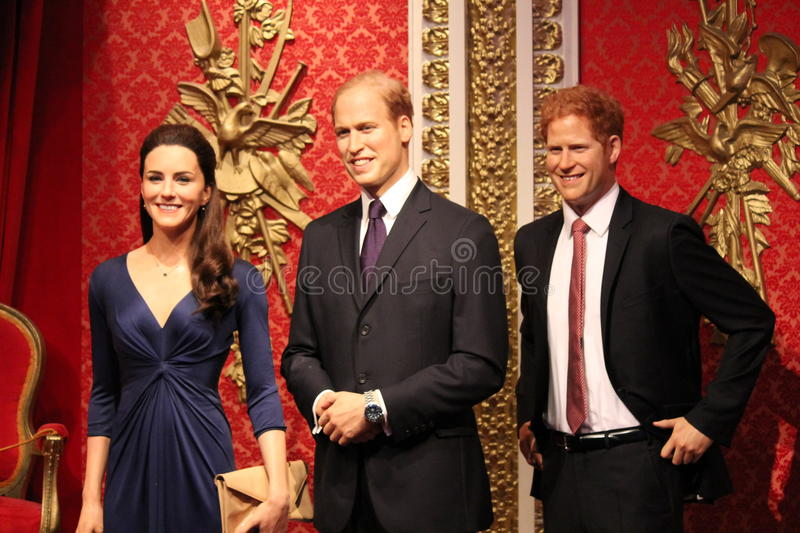 Prince Harry prince william & Kate Middleton portrait wax figure at Madame Tussauds London. Prince Harry, Prince William and Kate MIddleton, London, United stock photos