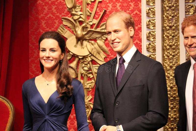 Prince william and kate Middleton portrait wax figure at Madame Tussauds London. Prince William, Kate Middleton, Harry, London, United Kingdom - March 20, 2017 stock images