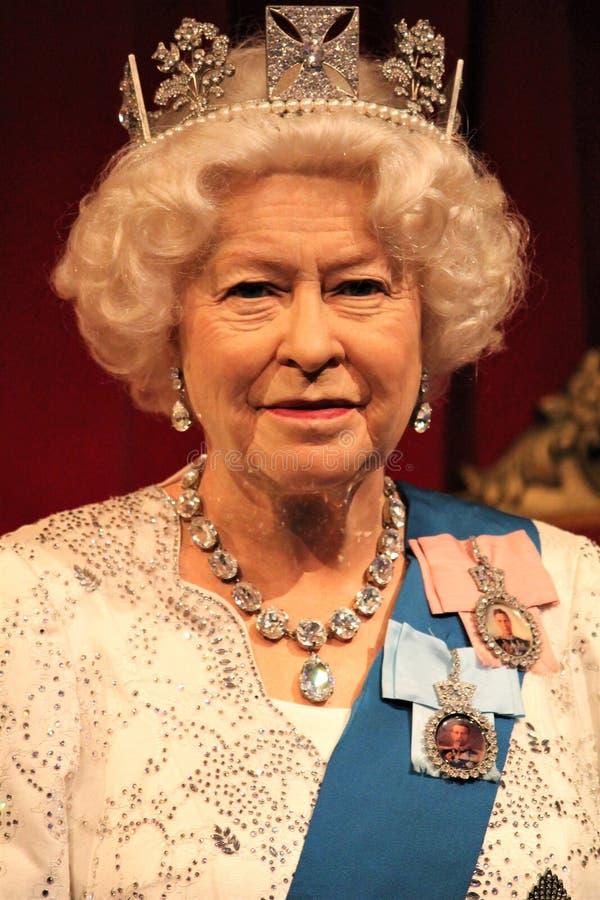 Queen Elizabeth ii stock photo 2 portrait waxwork wax figure at museum, London stock photos