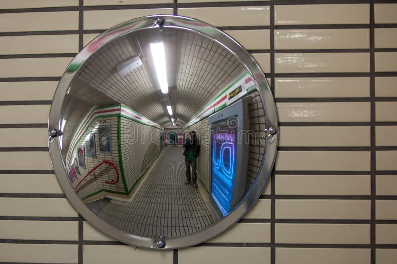 A security mirror in the tube royalty free stock photos