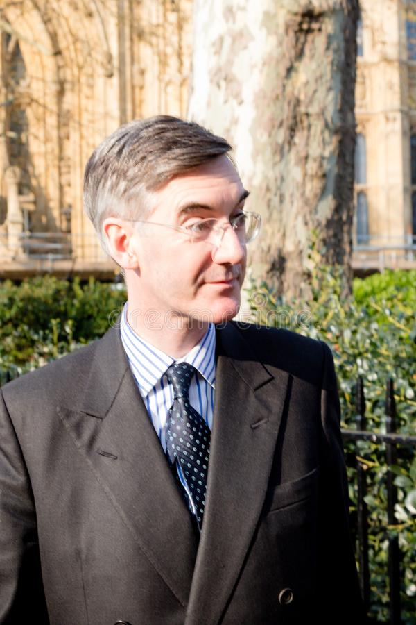 Brexit Day Protest in London. London, United Kingdom, March 29th 2019:- Conservative Member of Parliament Jacob Rees-Mogg leading supporter of Briexit leaves the stock photography