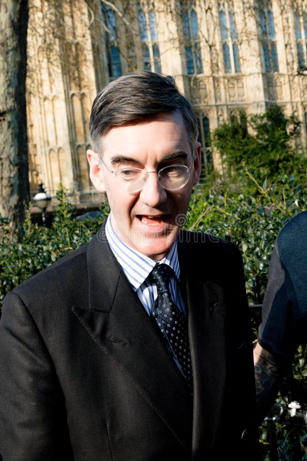Brexit Day Protest in London. London, United Kingdom, March 29th 2019:- Conservative Member of Parliament Jacob Rees-Mogg leading supporter of Briexit leaves the royalty free stock photos