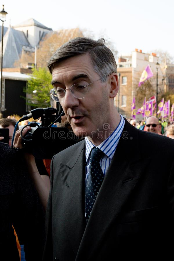 Brexit Day Protest in London. London, United Kingdom, March 29th 2019:- Conservative Member of Parliament Jacob Rees-Mogg leading supporter of Briexit leaves the royalty free stock image