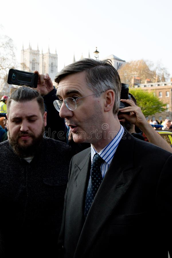 Brexit Day Protest in London. London, United Kingdom, March 29th 2019:- Conservative Member of Parliament Jacob Rees-Mogg leading supporter of Briexit leaves the stock photo