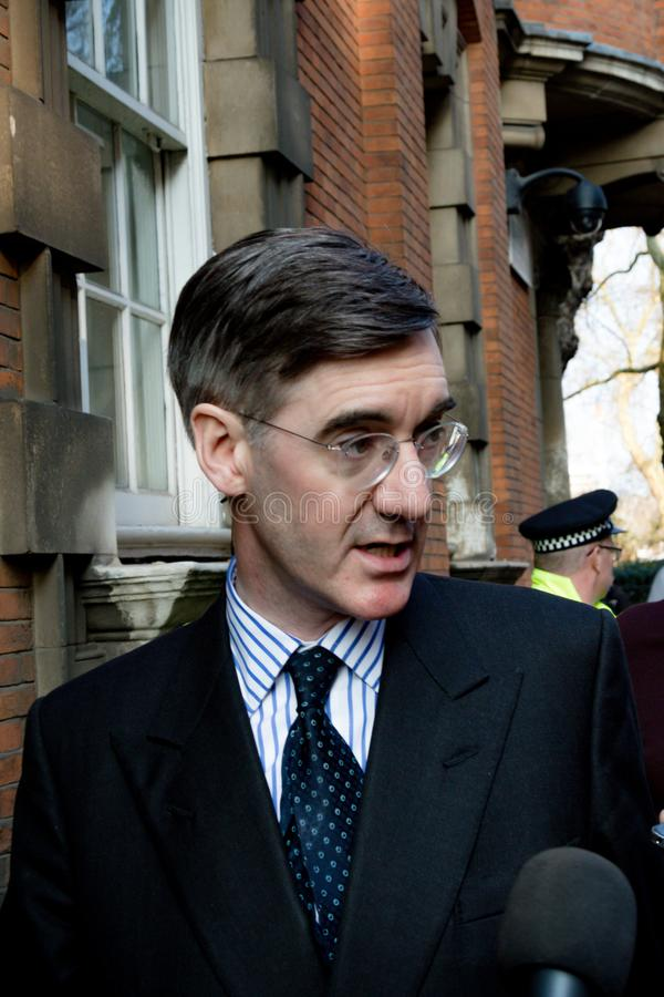 Brexit Day Protest in London. London, United Kingdom, March 29th 2019:- Conservative Member of Parliament Jacob Rees-Mogg leading supporter of Briexit leaves the royalty free stock photo