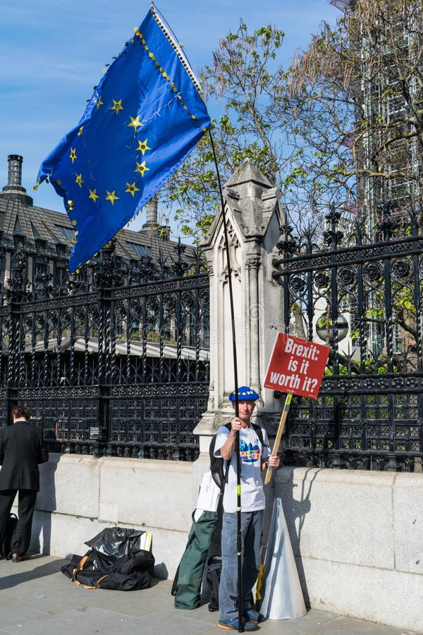 Anti Brexit Protester. LONDON, UNITED KINGDOM - May 15, 2019: Anti Brexit protester outside the UK Parliament Building in London stock photos