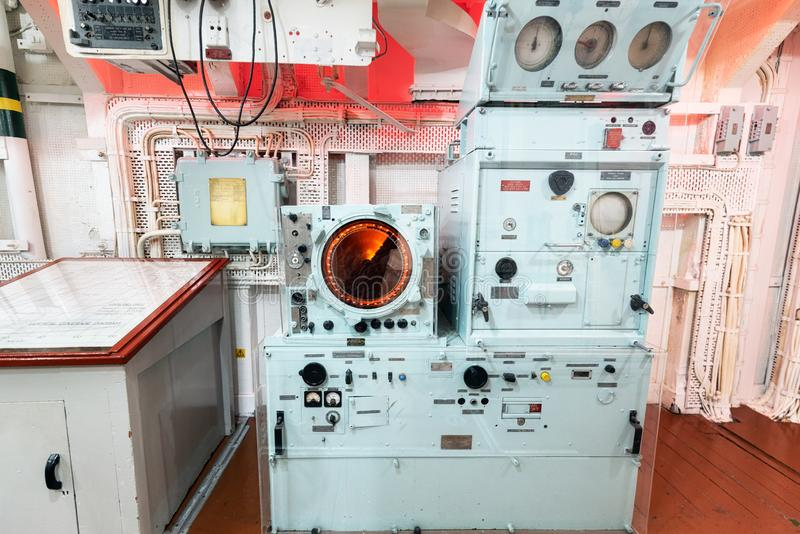 London, United Kingdom - May 13, 2019: HMS Belfast warship museum interior, saw action during the second world war, is. Now permanently moored as a museum ship stock images