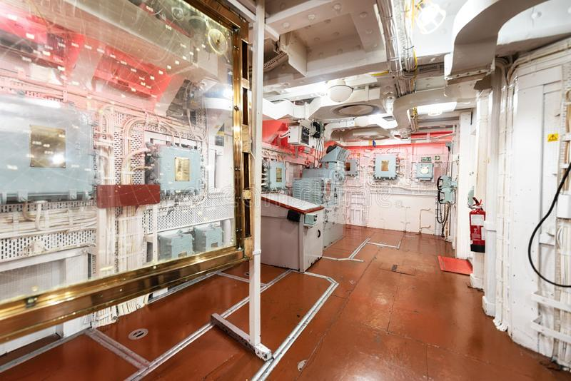 London, United Kingdom - May 13, 2019: HMS Belfast warship museum interior, saw action during the second world war, is. Now permanently moored as a museum ship stock photography