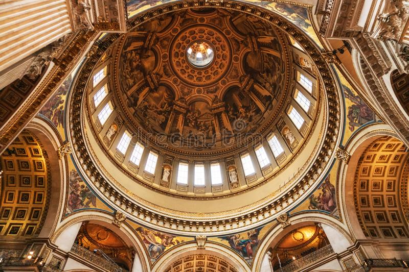 London, United Kingdom - May 12, 2019: Inside St Paul`s Cathedral in London, interior building details. It is an royalty free stock image