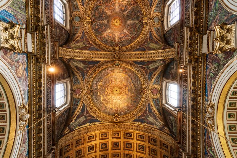 London, United Kingdom - May 12, 2019: Inside St Paul`s Cathedral in London, interior building details. It is an stock images