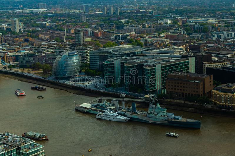 London City Hall and buildings on the south bank of the river Thames stock photography