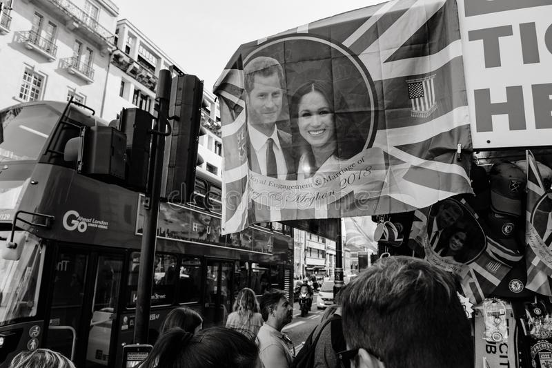 Street shop selling souvenir memorabilia royal wedding bus station royalty free stock photos