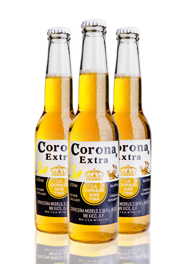LONDON, UNITED KINGDOM - October 23, 2016: Bottles of Corona Extra Beer on white. Corona, produced by Grupo Modelo with Anheuser. Busch InBev, is the most stock photos