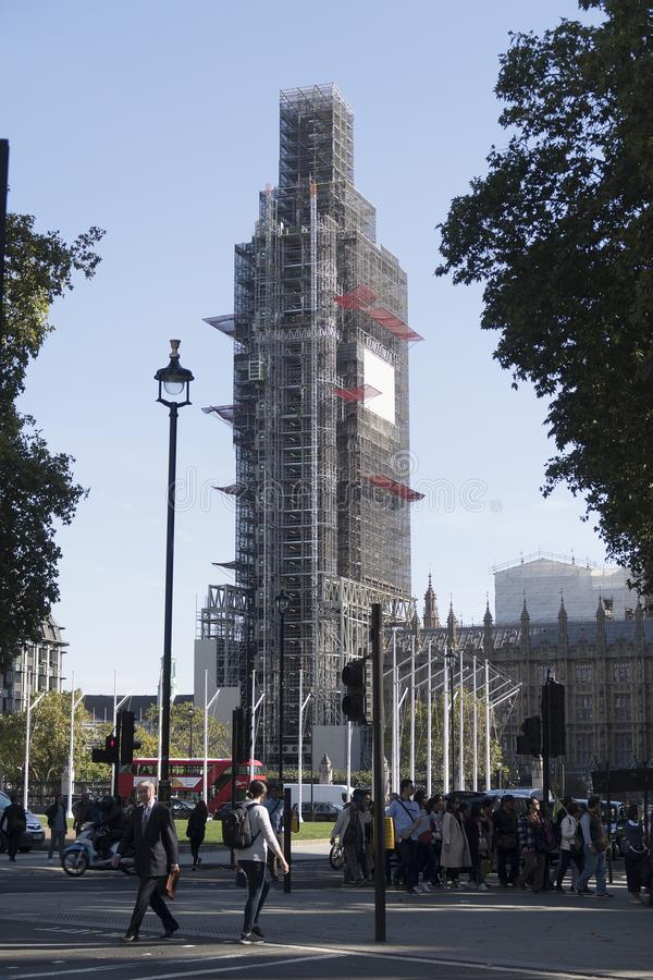 Famous landmark Big Ben in London under scaffolding for repair work during a six year royalty free stock photo