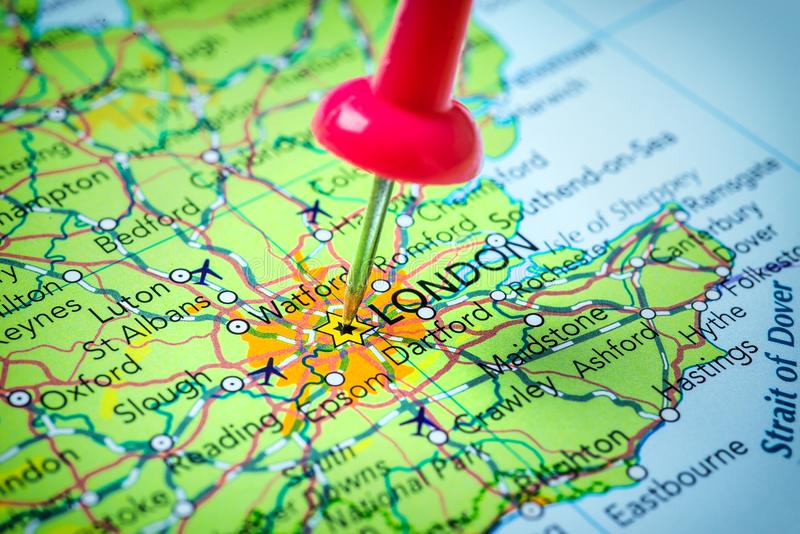download london in united kingdom pinned on a map stock photo image of physical